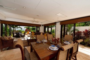 Open plan dining and living room opens out on to terrace
