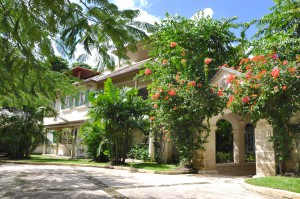 Evergreen villa front view entrance
