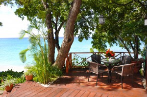 Private deck under the trees overlooking the beach