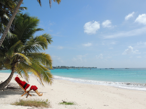 Santa on the beach in Barbados