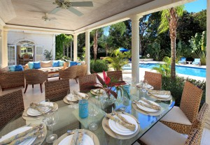 Saramanda villa rental Barbados patio dining