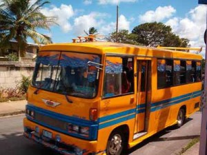 Barbados yellow mini bus