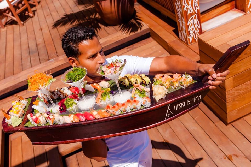 nikki-beach-barbados-sushi-boat